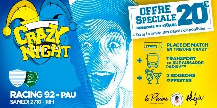 Pour le réception de la @SectionPaloise, la Tribune Crazy vous propose une «Crazy Night» ! Billet de match + Transport vers «La Rue de la Soif» + 2 boissons offerts pour seulement 2️⃣0️⃣€  ❗️Place