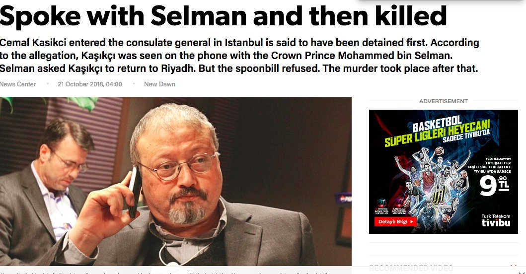 If this turns out be true, an explosive turn of events: Turkish newspaper YeniSafak publishes story alleging @washingtonpost columnist #Khashoggi actually spoke to Saudi Crown Prince Salman on a mobile phone from inside the Embassy, before being killed https://t.co/EznHnCIB9w