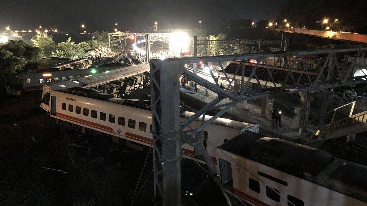 Au moins 22 morts dans un accident de train à #Taïwan https://t.co/X3pQJKj7hU