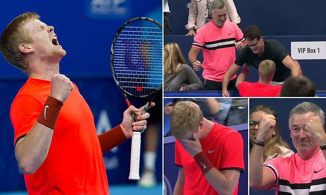 Kyle Edmund breaks down in tears and enjoys emotional embrace with his coach after beating Gael Monfils in European Open final to claim maiden ATP title in Antwerp https://t.co/K0IwRdjaEi