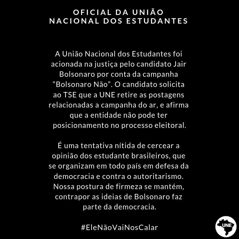 Nota oficial da União Nacional dos Estudantes #EleNaoVaiNosCalar