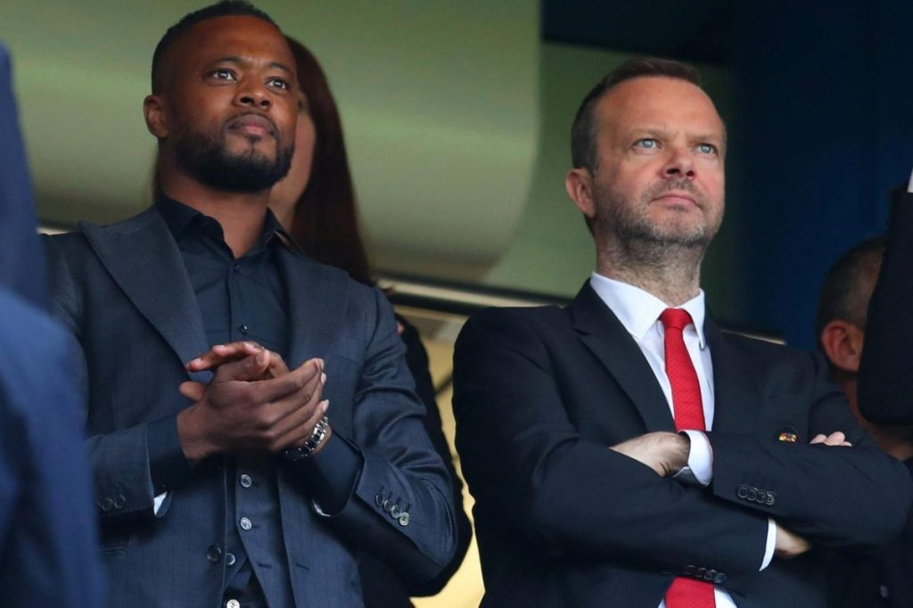 Manchester United fans believe Patrice Evra is being lined up for director of football role at Old Trafford after repeatedly being spotted with EdWoodward newscabal.co.uk/manchester-uni…