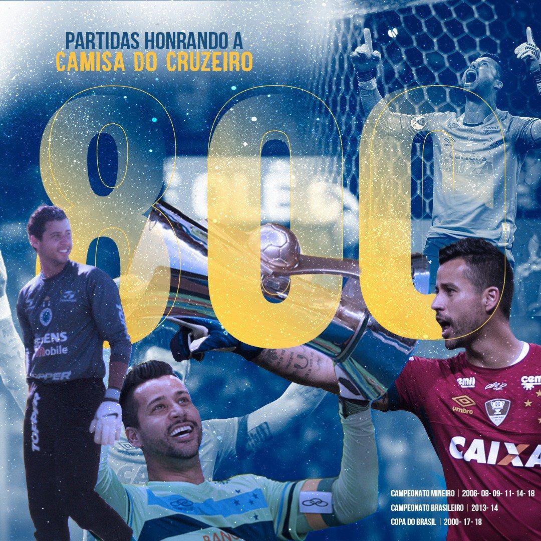 Jogador que mais vestiu a nossa pesada camisa, FÁBIO completa hoje 800 jogos pelo Cruzeiro.  É um orgulho imenso poder contar com um atleta tão fora de série.  @fabiogoleiro_01, você é um MONSTRO! Um GIGANTE que está marcado em nossa história.  PARABÉNS e OBRIGADO!  #Fábio800