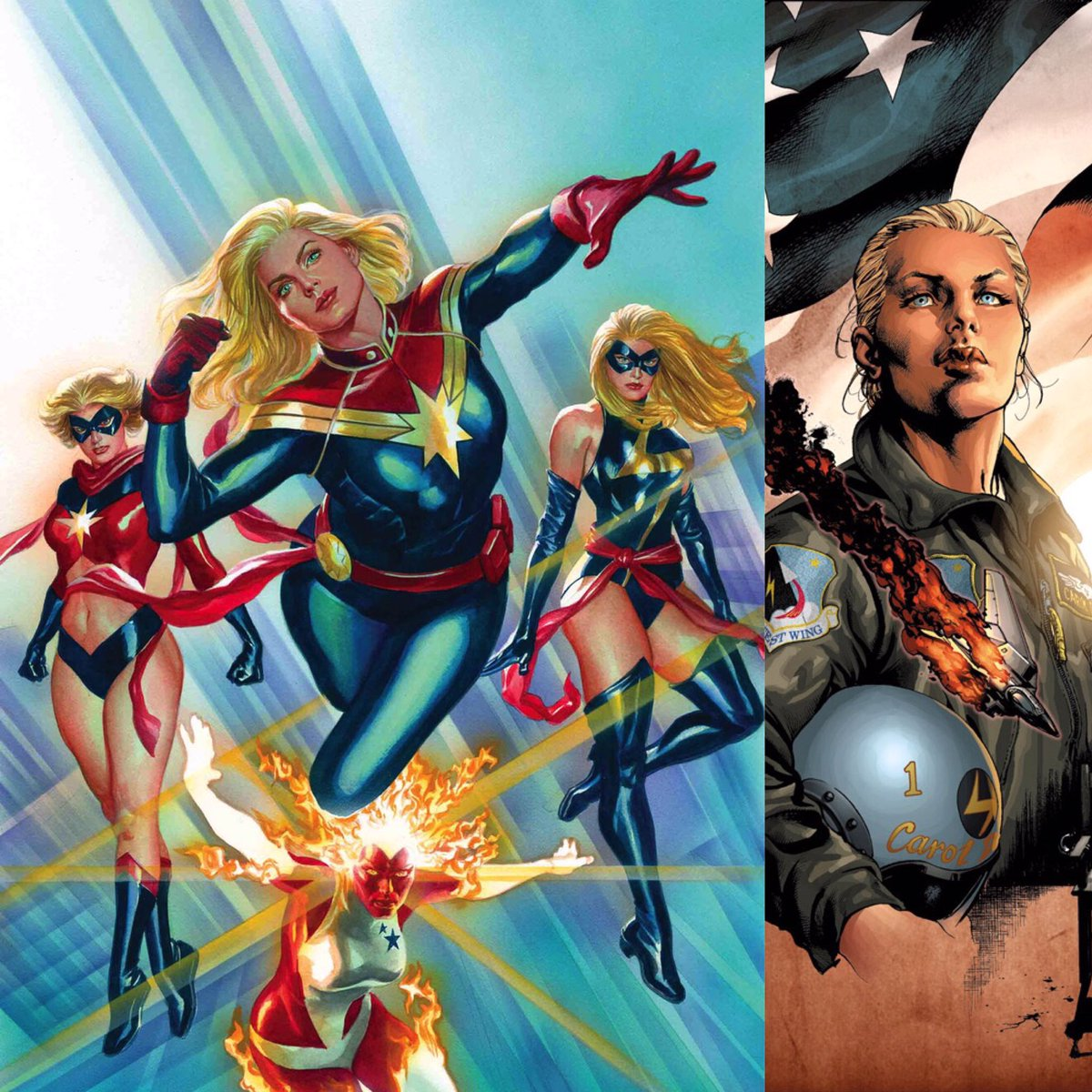 50 years of history. It's incredible to see how much #CaptainMarvel developed as a character, as a woman and a hero! Everything she went through, every adversity she overcame, made her who she is. She claimed her space as a respected leader and became Marvel's premiere heroine!