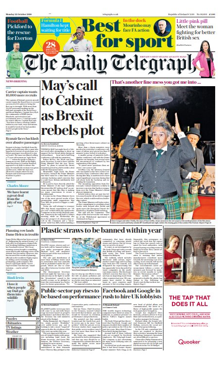 The front page of tomorrow's Daily Telegraph 'May's call to Cabinet as Brexit rebels plot' #tomorrowspaperstoday