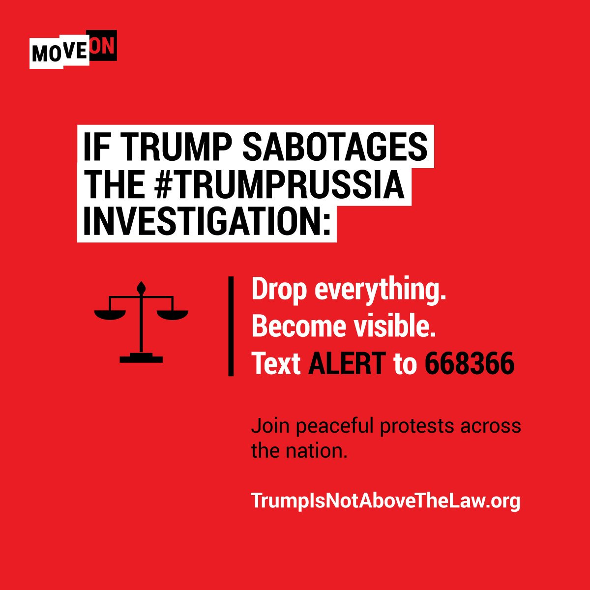 400,000+ activists are ready to take action if @realDonaldTrump sabotages #Mueller's #TrumpRussia investigation. Text ALERT to 668366 & head here: https://t.co/stKLh1DCbN