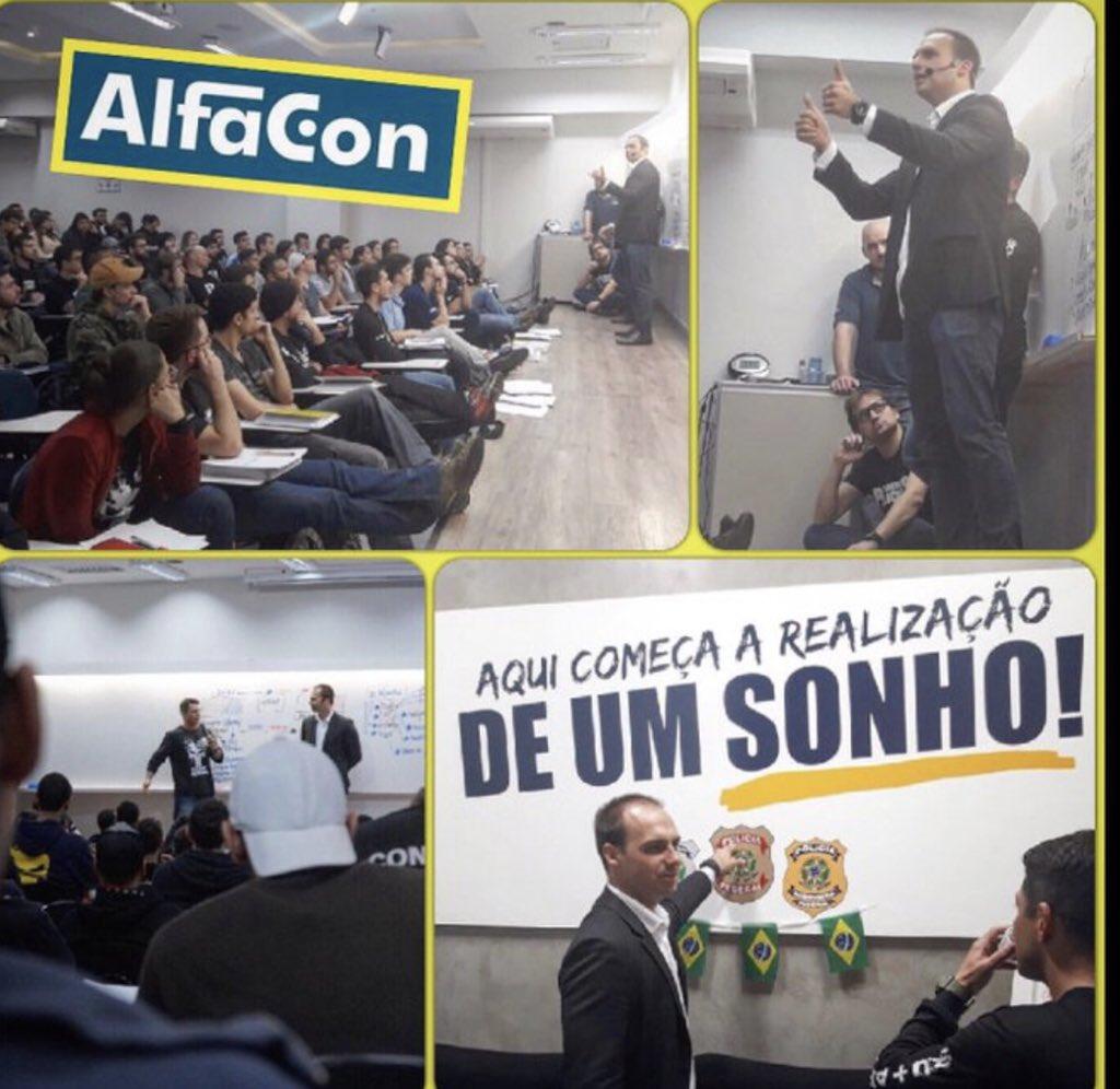 """O vídeo em que Eduardo Bolsonaro diz que """"não precisa nem de Jeep, basta um soldado e um cabo para fechar o STF"""" foi gravado em 9 de julho, numa aula de preparação para concursos públicos, em Cascavel-PR, da empresa AlfaCon.    https://t.co/53JzedVMeJ"""