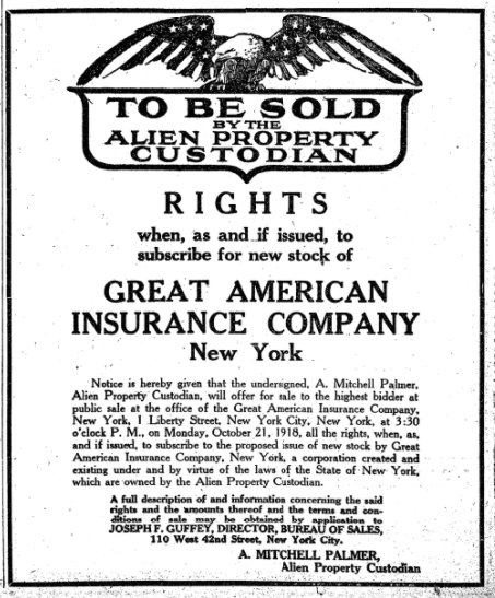 Oct 16, 1918 - New York Times: Auction of property seized by US government from enemy aliens #100yearsago