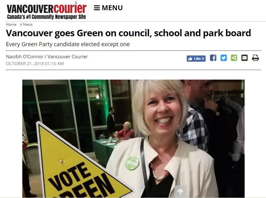 WHOOOHOOO!!! Vancouver Goes Green on Council, School & Park Board: Every Green Party candidate elected except one! For full article see: bit.ly/2yOjizQ #vanpoli #VancouverVotes #vanelexn18 #vanelxn2018 #bcpoli #cdnpoli #canpoli #Vancouver #VancouverVotes2018
