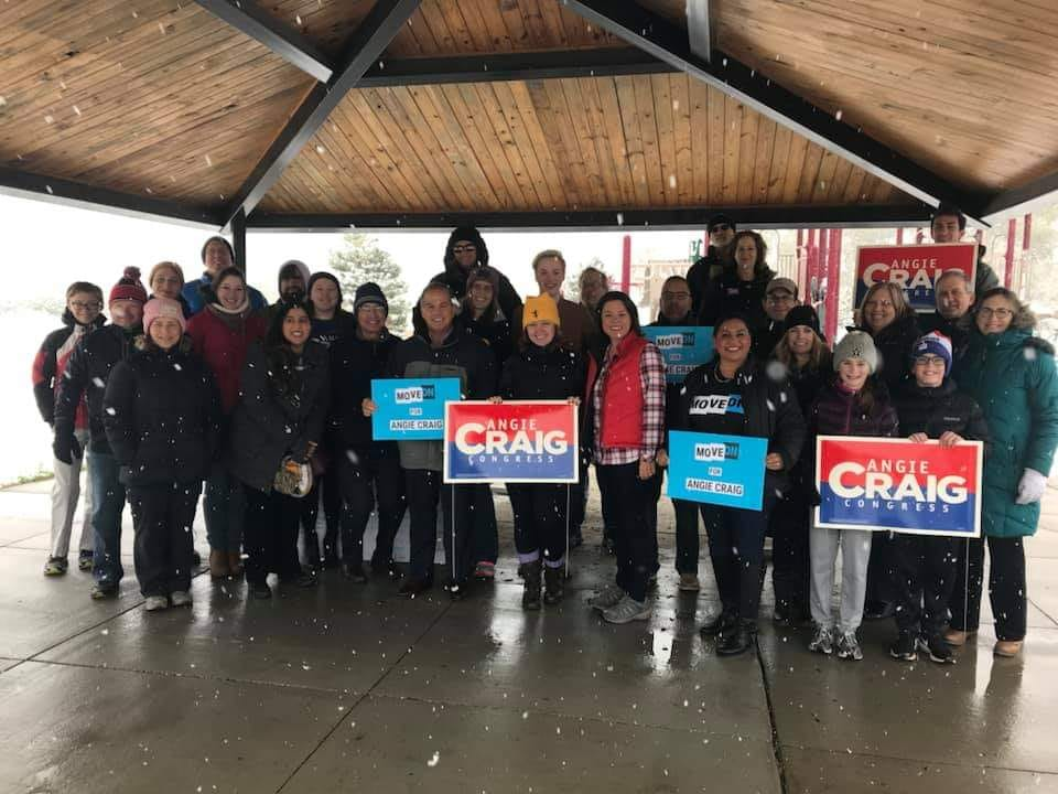 Not even snow days can deter our members out in support for endorsed candidate @AngieCraigMN #resistandwin