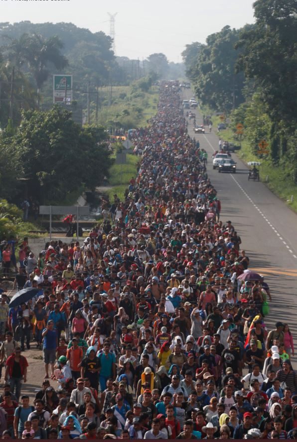 'migrant caravan' now 5000.  Looks like about 85% young military age males.   Guatemala detained 100 ISIS. How many in this caravan also ISIS, using the women and children as body shields?  THIS is an invading army intending to attack the US homeland  #BuildTheWall  #MAGA