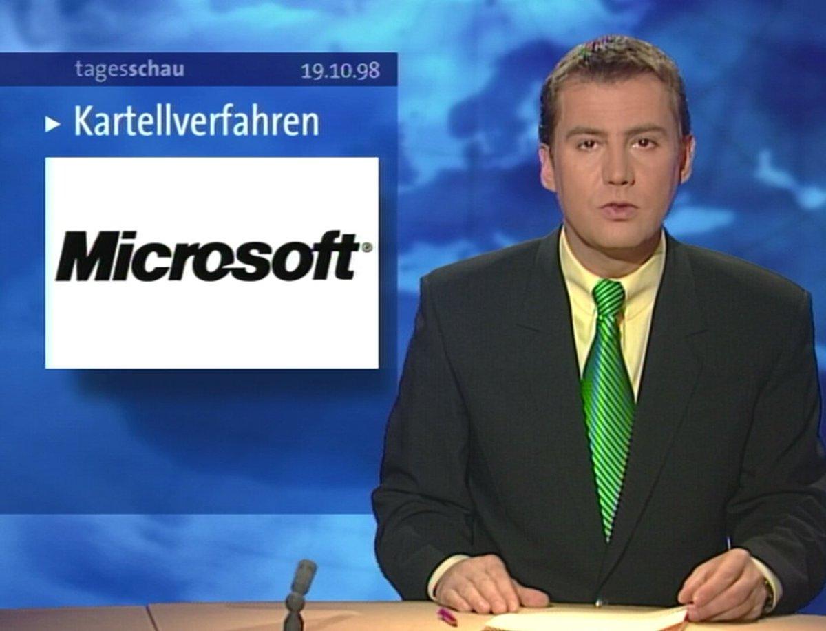 [19.10.98] Kartellverfahren gegen Microsoft, weil das Unternehmen seine marktbeherrschende Stellung nutzt, um seinen Browser 'Internet Explorer' gegen Konkurrenten wie 'Netscape' durchzusetzen.