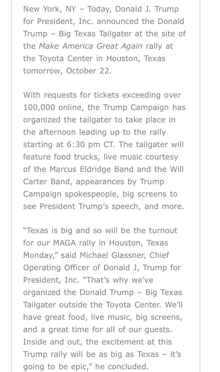 """""""With requests for tickets exceeding over 100,000 online,"""" Trump campaign announces it's holding a """"Big Texas Tailgater"""" before Trump's rally tomorrow evening in Houston:"""