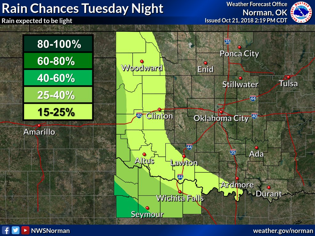 Great fall weather with near average temperatures across the region through Tuesday -  before cooler and rainy weather arrives Tuesday night and Wednesday. Dry weather expected Thursday into the weekend. #okwx #texomawx