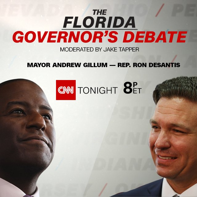 Who will be Florida's next governor? See Republican @RonDeSantisFL and Democrat @AndrewGillum face off in a live CNN debate moderated by @jaketapper. Tonight at 8 ET on CNN #FLGovDebate