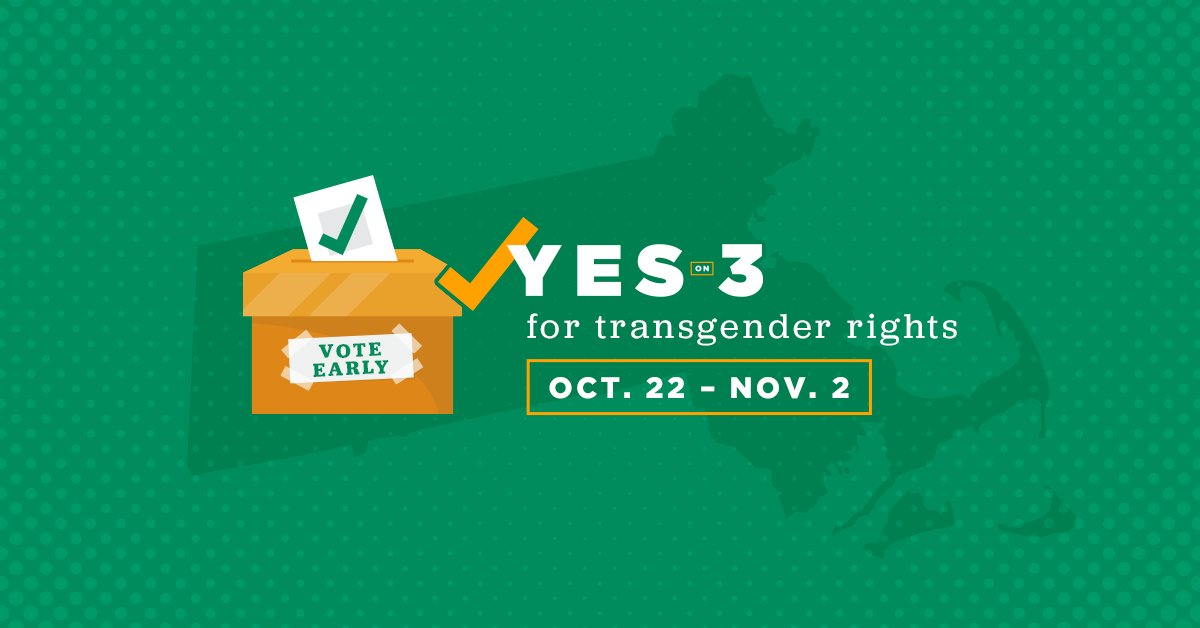Early voting in #Massachusetts starts TOMORROW! Vote early and vote #YesOn3 to uphold dignity and respect for our #transgender neighbors: https://t.co/ypkRDf1qJP #MAPoli