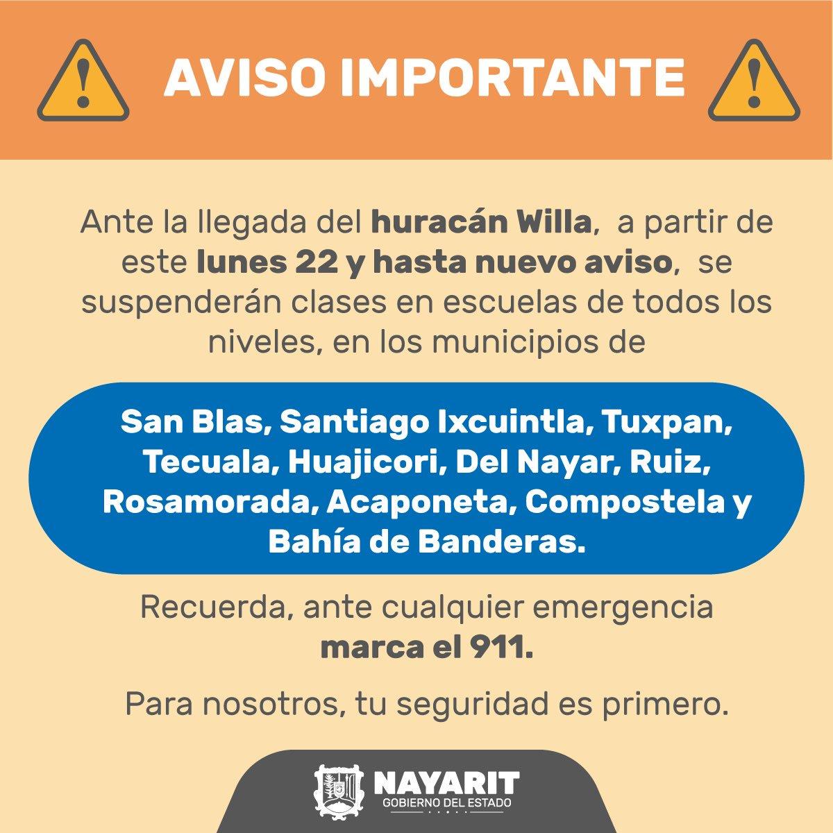 ⚠ AVISO ⚠  Vía @NayaritGobierno:  Actualización referente a la suspensión de clases por el huracán Willa.  ¡Ayúdanos a compartir!✅ https://t.co/xBxTgTP7J5