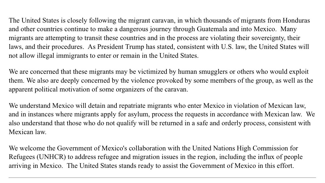 This statement by Mike Pompeo about the migrant caravan reads like it has multiple personalities: