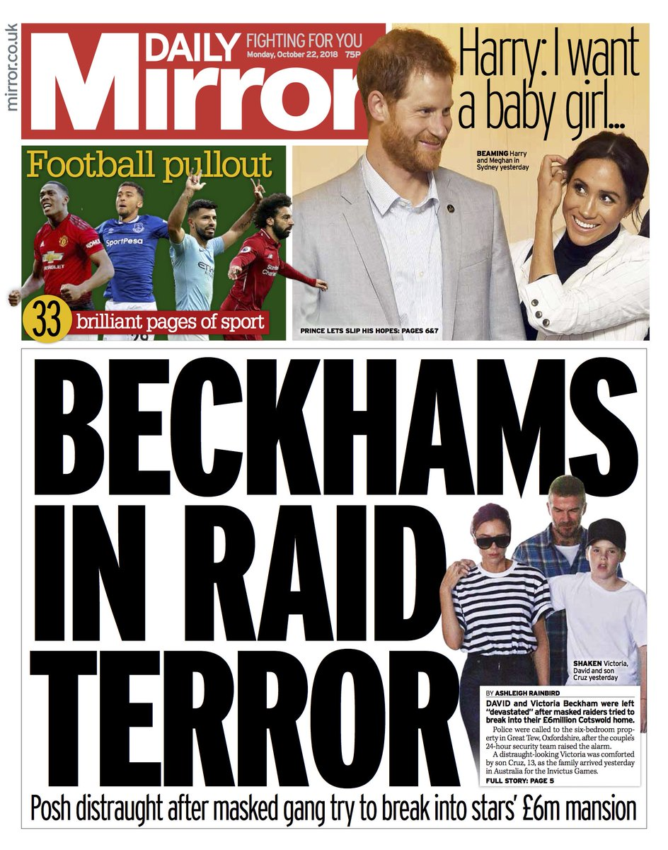 Tomorrow's front page: Beckhams in raid terror #tomorrowspaperstoday https://t.co/NtfiawkBoS