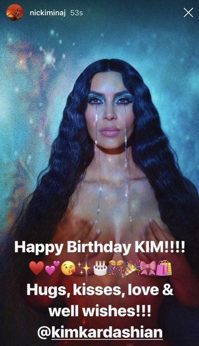 . wishing Kim Kardashian a Happy Birthday on her Instagram story.
