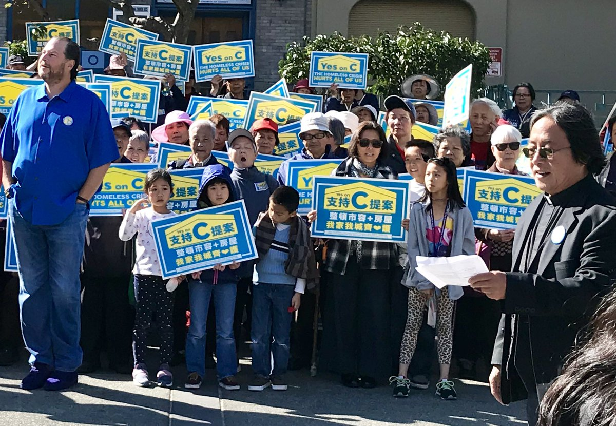 Thank you to everyone who came to Chinatown today for Yes on C! 7500 homeless people & 1200 homeless families & kids are on SF streets daily. We can all solve homelessness with new funding for shelters, addiction centers, & mental health. Big corps like mine pay, you don't pay.