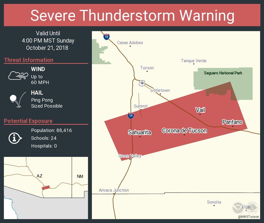 Vail Arizona Map.Nws Tucson On Twitter Severe Thunderstorm Warning Including