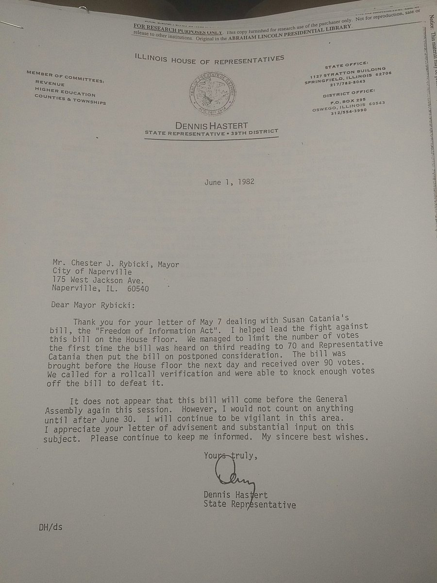Another oldie but goodie from the dusty archives: one of Denny Hastert's proudest achievements, killing the Illinois Freedom of Information Act in 1982. Promised to 'be vigilant in this area.' It passed 2 years later. #FOIA
