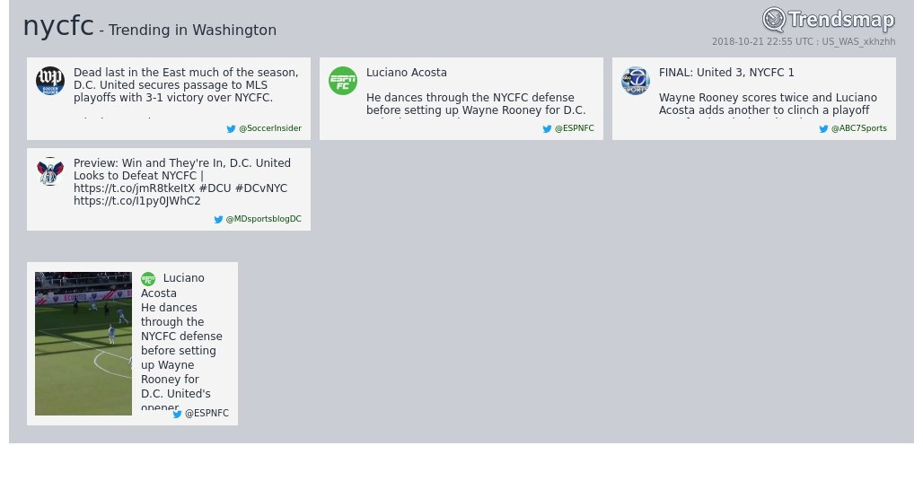 'nycfc' is now trending in #DC  https://t.co/9ko2adY5GJ https://t.co/O7zWiZLHRA