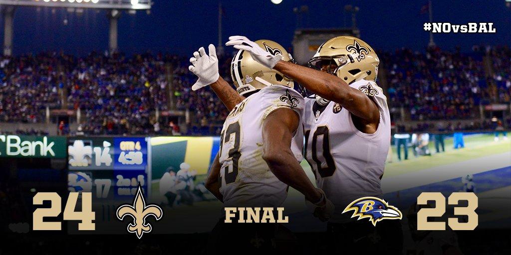 Game recap: New Orleans Saints 24, Baltimore Ravens 23  ��: https://t.co/NwDuKOiF0t https://t.co/OT6mQr9AYH