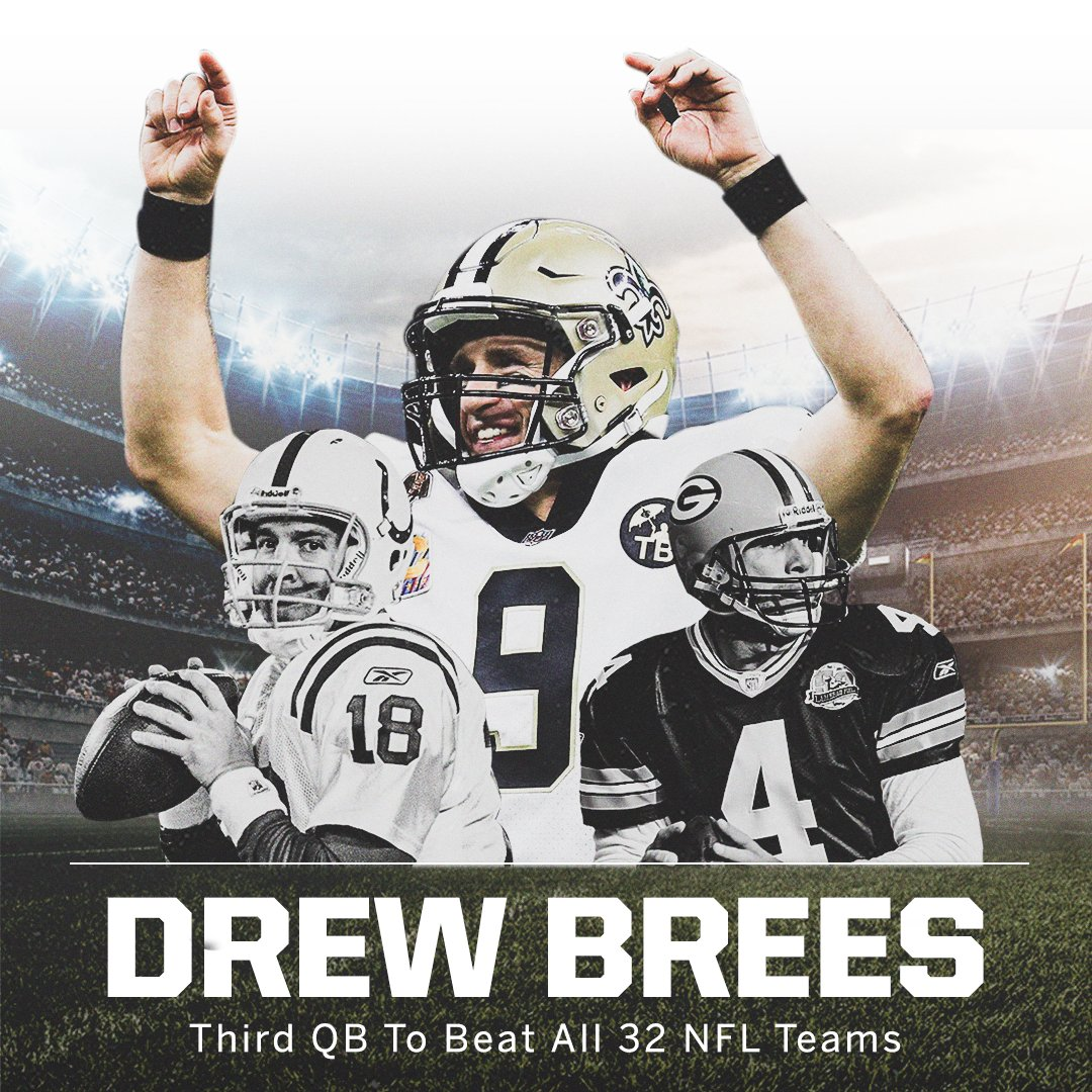 Drew Brees has now beat ALL 32 NFL teams 👏