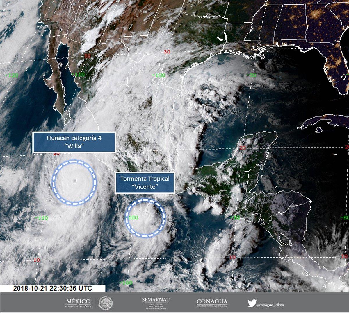 ¡Increíble, casi todo México tapado!  RT @conagua_clima:   #Huracán #Willa de categoría 4 y #TormentaTropical #Vicente en el Océano #Pacífico https://t.co/FveKbDyjGA