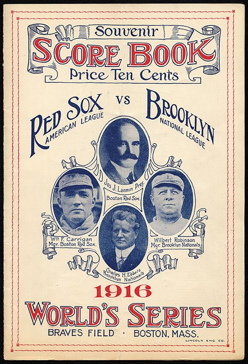 The last time the @Dodgers and @RedSox met in the World Series was *102* years ago, in 1916, when the Dodgers were known as the Brooklyn Robins. Casey Stengel starred for Brooklyn and Babe Ruth was the pitching hero for Boston. Man, baseball has a long history.