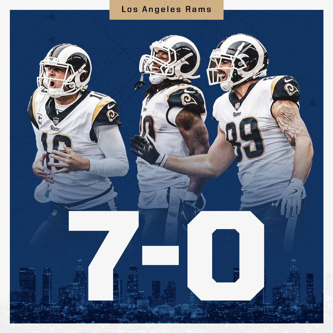 For the first time since 1985, the @RamsNFL have started the season 7-0.   They remain the only undefeated NFL team. https://t.co/0CT4wVJQ3z