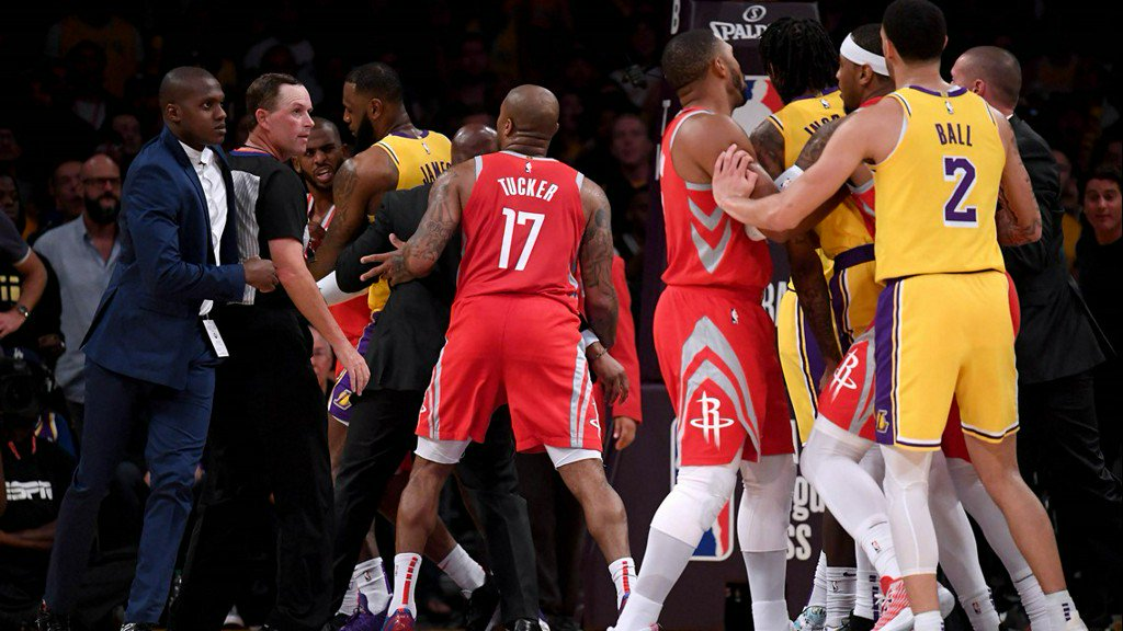 Wild brawl between Lakers and Rockets leads to three ejections https://t.co/45drR2Y87j