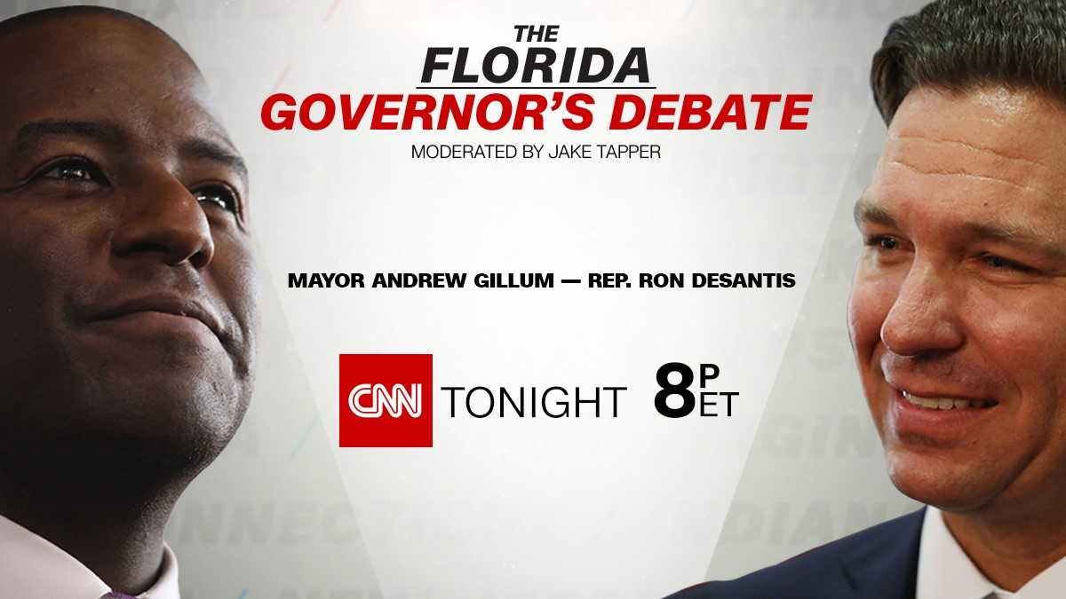 Live Now on CNN: Who will be Florida's next governor? Republican @RonDeSantisFL and Democrat @AndrewGillum face off in a CNN debate moderated by @jaketapper. https://t.co/hP9jBqXNVl  #FLGovDebate
