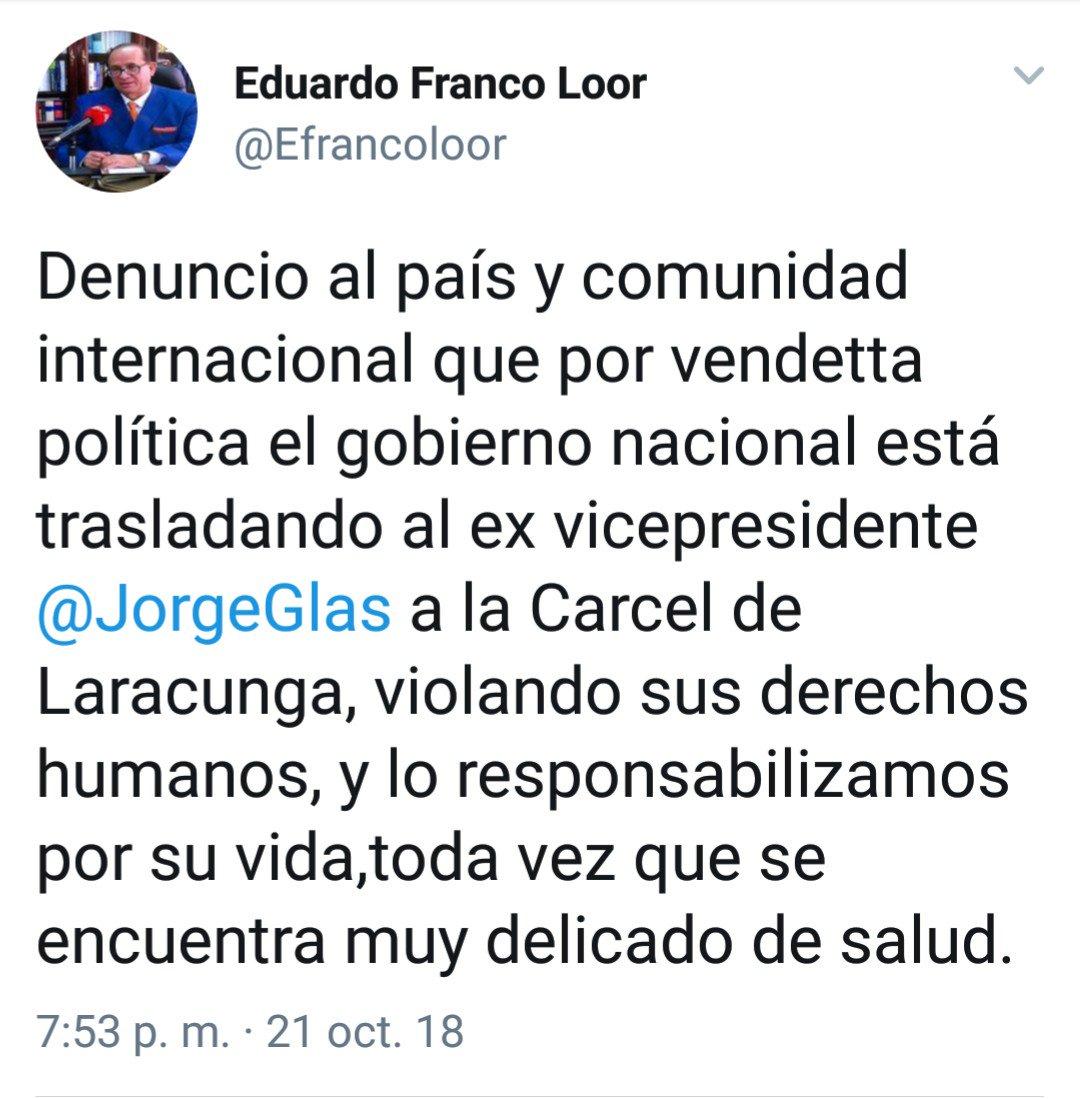 ÚLTIMA HORA | exvicepresidente Jorge Glas fue trasladado este domingo, de la cárcel 4 de #Quito al centro de rehabilitación social de Latacunga, según confirma su abogado Eduardo Franco Loor.