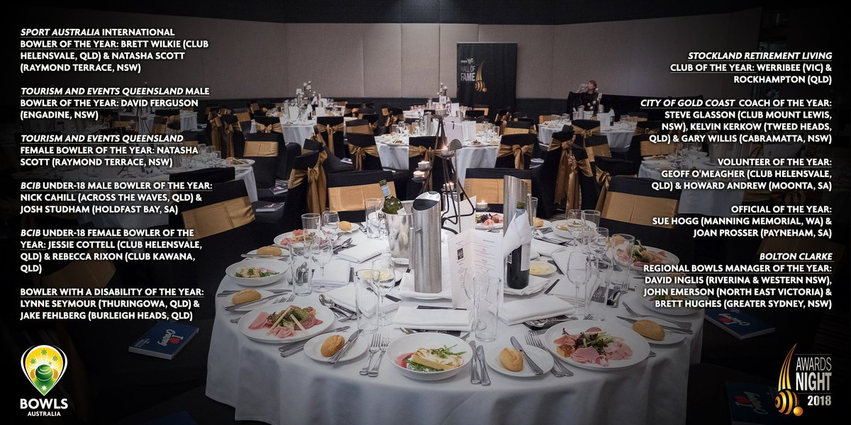 The 2018 annual Awards Night and Gala Dinner is upon the Australian bowls community, set to be held this Thursday night on the sunny Gold Coast at Mantra on View.  🏅👔👗  📰 - https://t.co/vFsn747y43  (See below for award finalists)