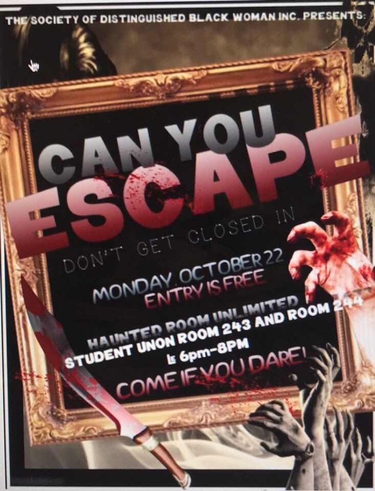 CAN YOU ESCAPE IN TIME ?? Come out and join us tomorrow night from 6-8 pm in the student union room 243 and 244. 👻 This is something you don't want to miss 🗣🗣