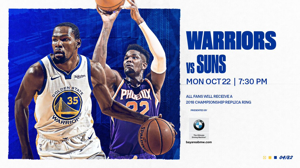 We're back at it tomorrow #DubNation & all fans in attendance will receive a 2018 Championship replica ring thanks to @BMWUSA 💪 💍 🎟️ : bit.ly/2zTnFv7