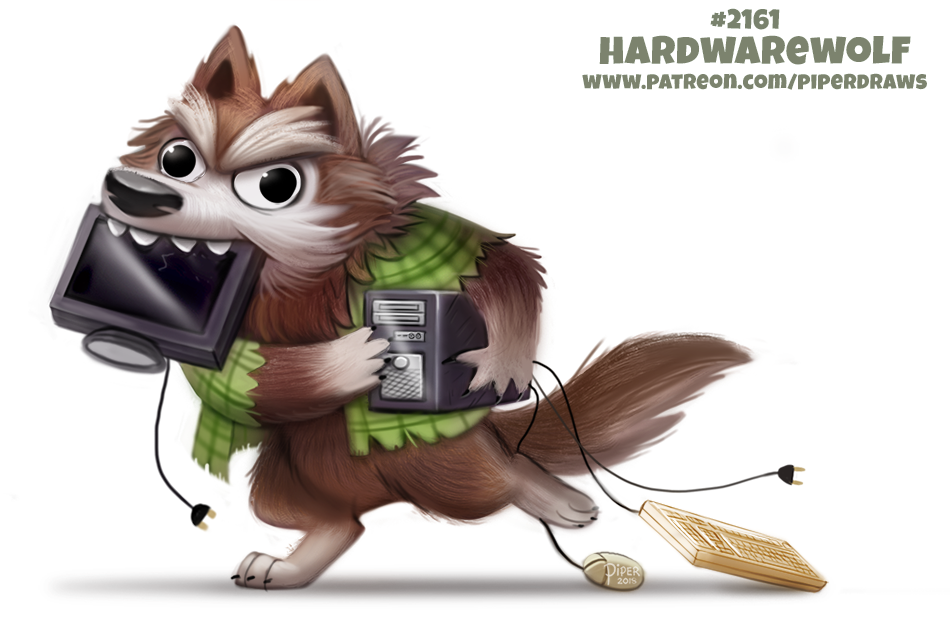 Daily Paint 2161. Hardwarewolf #illustration #animals #cute 🎃 Halloween Special Print Promos: ForgePublishing.com/shop 🎃 patreon.com/piperdraws