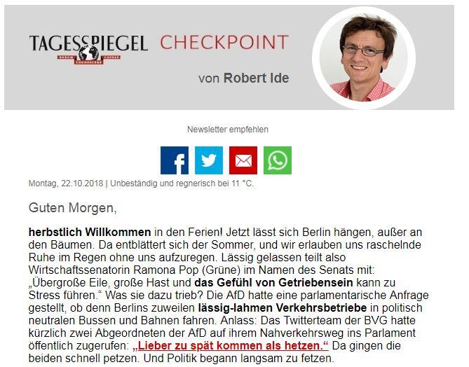 Guten Morgen! @ichgruessesie schreibt heute im #Checkpoint darüber, wo Erich #Honecker nicht seine letzte Ruhestätte finden wird, über gemütliche Öffis ohne Hetze und #Gentrifizierung in Prenzlauer Berg. https://t.co/SO7dBFTha5