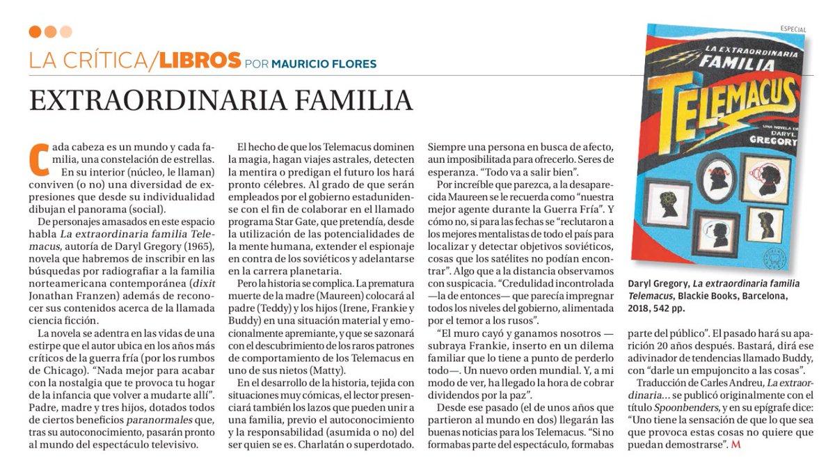 "🗞Sobre ""La extraordinaria familia Telemacus"" @darylwriterguy @BlackieBooks  mi columna en @"