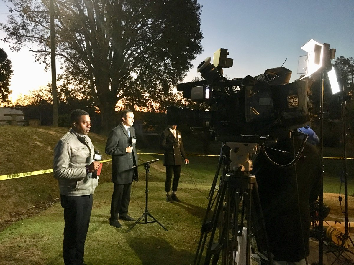 Dueling standup spots for TV stations covering former Panther Rae Carruth's prison release here in Clinton NC today. Carruth will likely be released by or before 9 am after serving nearly 19 years in prison for conspiring to murder his pregnant girlfriend Cherica Adams.