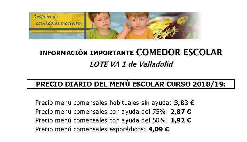 Revisión de precios del Comedor Escolar para el curso 2018-19. Mas ...