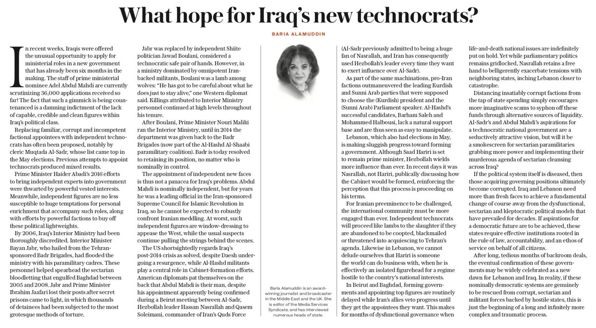 OP-ED: Al-Sadr's and Abdul Mahdi's aspirations for a technocratic national government in #Iraq are a seductively attractive vision, but will it be a smokescreen for sectarian paramilitaries grabbing more power?, Baria Alamuddin asks. https://t.co/M9EpwEH7DO #AdelAbdulMahdi