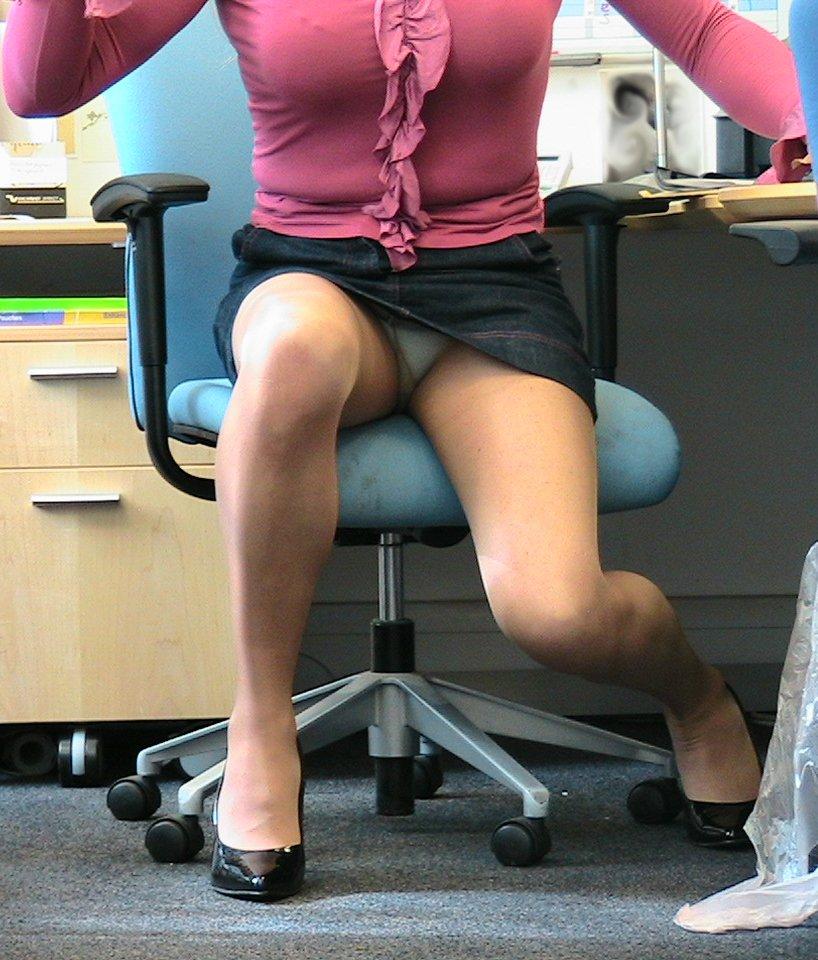 Secretary upskirt voyeur