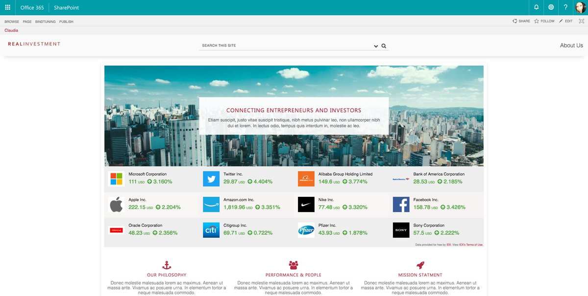 Bindtuning On Twitter Real Time Stock Market Information On Your Company Intranet Stock Ticker Web Part More Goodness For Your Intranet From Bindtuning Available Now Https T Co Vkcshkfip5 Office365 Sharepoint Stockmarket Stockwatch Stocks