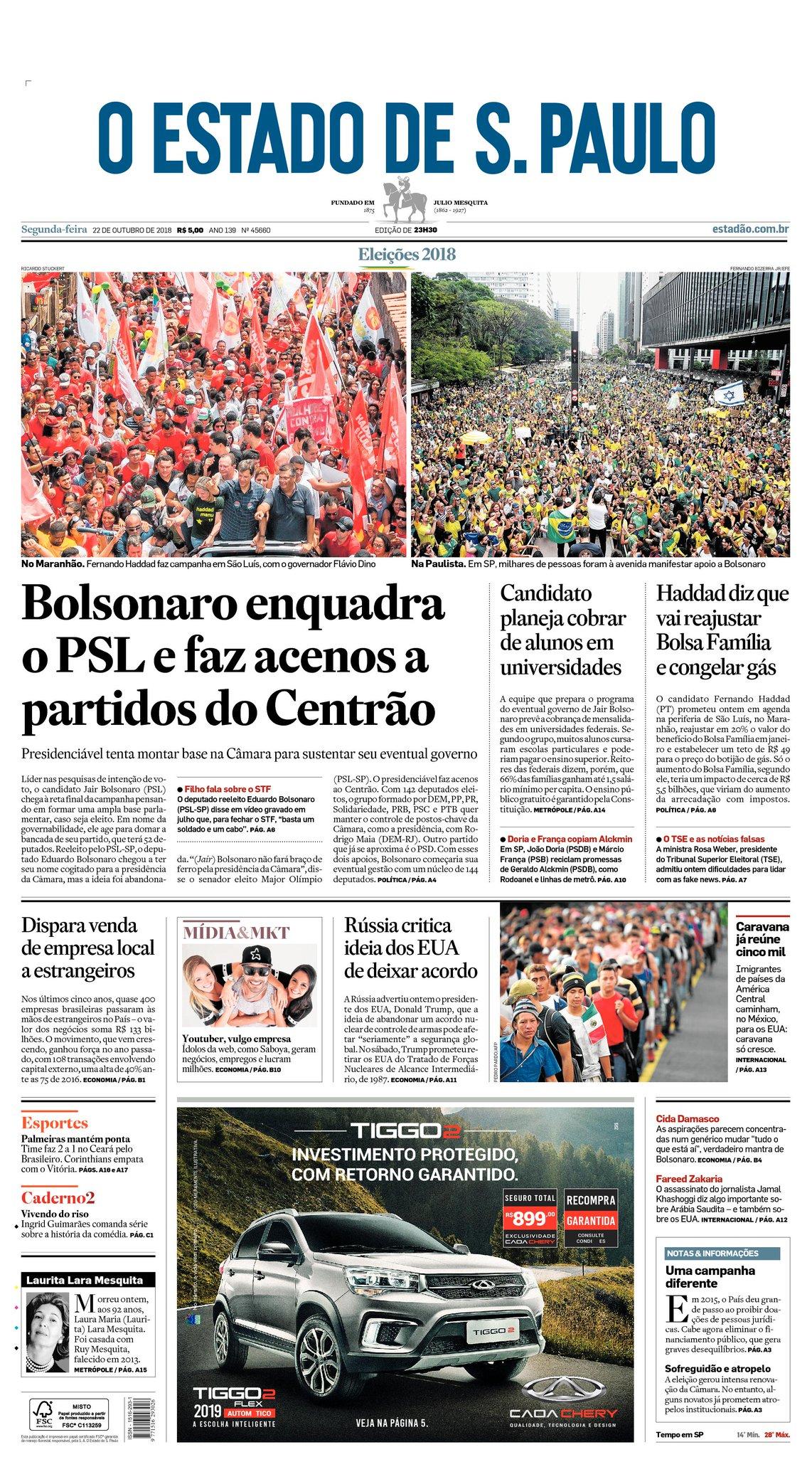 CAPA: Bolsonaro enquadra o PSL e faz acenos a partidos do Centrão https://t.co/d9HeX0h6Dz https://t.co/Q3Ox98w2QQ