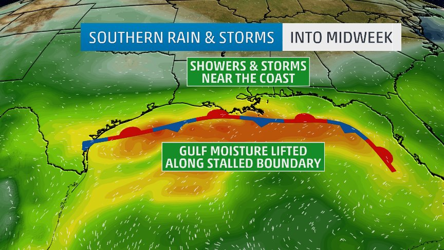 Unwelcome rain for #flood stricken #texas and eventually the #floridapanhandle where many are still without power from #HurricaneMichael.  Join me, @StephanieAbrams &amp; @TWCChrisBruin 6am to 9am on @AMHQ @weatherchannel<br>http://pic.twitter.com/DPqLpKiLl3