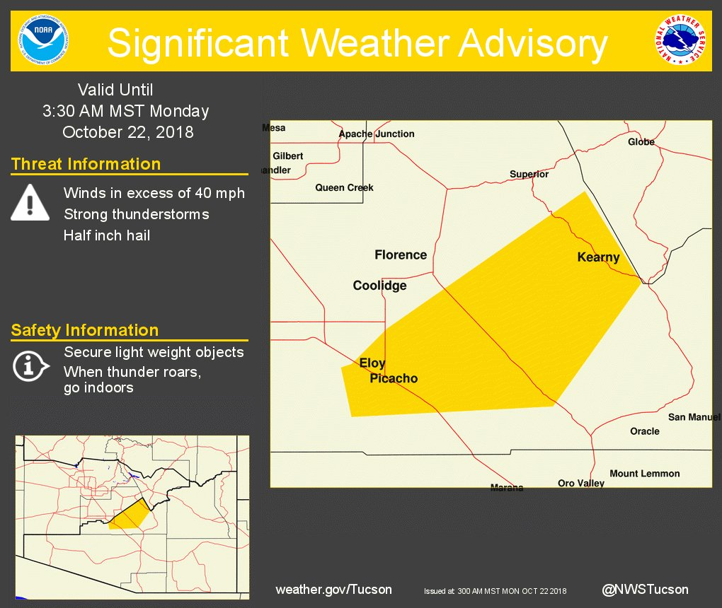Significant Weather Advisory for Central Pinal County until 330 AM MST. https://t.co/2fQcBN81FB #azwx